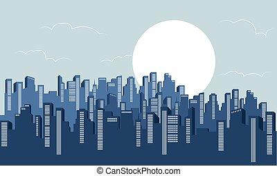 sylwetka, od, gmach, krajobraz, z, pełnia księżyca
