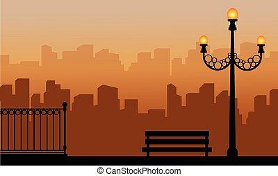 sylwetka, od, kandelabr, z, miejski, tło, krajobraz