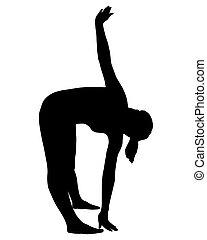 sylwetka, od, kobieta, czyn, yoga