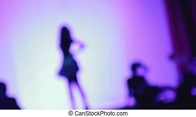 sylwetka, od, kobiety, taniec, na, przedimek określony przed rzeczownikami, pokaz