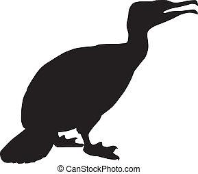 sylwetka, od, kormoran, ptaszki