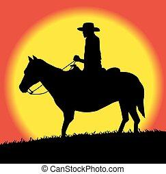 sylwetka, od, kowboj