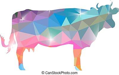 sylwetka, od, krowa, z, barwny, tło, polygonal.
