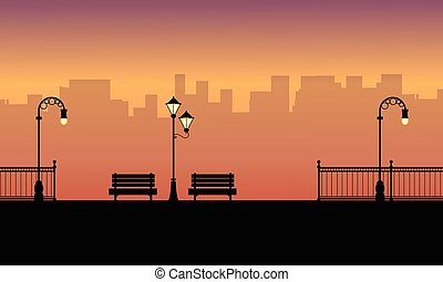 sylwetka, od, krzesło, z, kandelabr, krajobraz