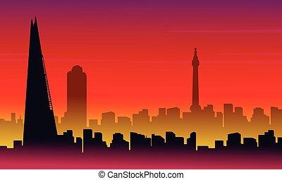 sylwetka, od, londyn, miasto, z, czerwone tło, krajobraz