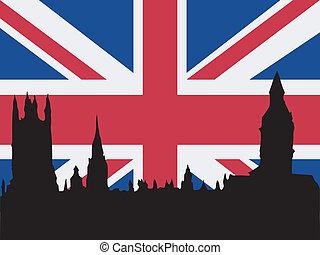 sylwetka, od, londyn