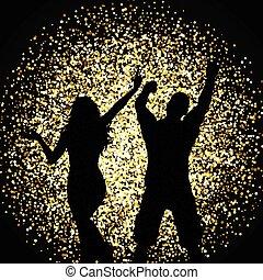 sylwetka, od, ludzie, taniec, na, złoty, blask, tło