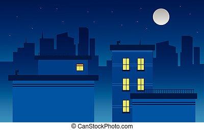 sylwetka, od, miasto, i, księżyc, krajobraz