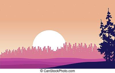 sylwetka, od, miasto, i, księżyc