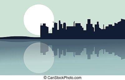 sylwetka, od, miasto, i, odbicie, z, pełnia księżyca