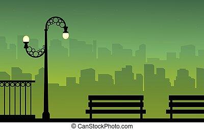 sylwetka, od, miasto, tło, z, kandelabr, krajobraz