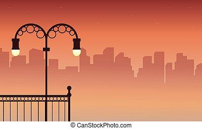 sylwetka, od, miasto ulica, lampa, krajobraz