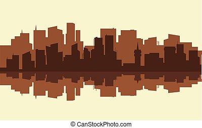 sylwetka, od, miasto, z, brązowy, kolor