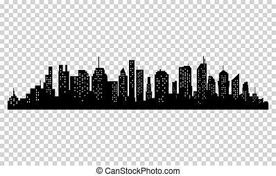sylwetka, od, miasto, z, czarnoskóry, kolor, na białym, tło