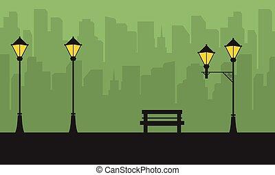 sylwetka, od, miasto, z, kandelabr, krajobraz