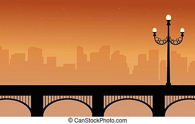 sylwetka, od, most, piękno, krajobraz, z, kandelabr