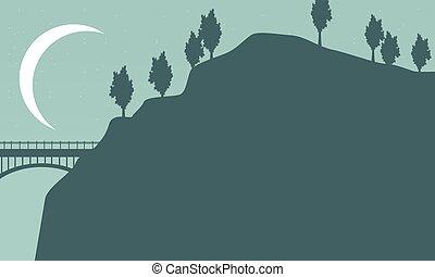 sylwetka, od, most, z, księżyc, krajobraz