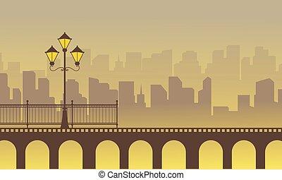 sylwetka, od, most, z, miasto, tło, krajobraz