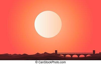 sylwetka, od, most, z, słońce, krajobraz