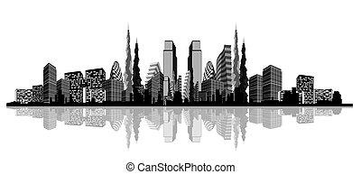 sylwetka, od, na, abstrakcyjny, miasto