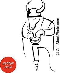 sylwetka, od, niejaki, byk, z, przedimek określony przed rzeczownikami, instrument