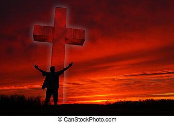 sylwetka, od, niejaki, człowiek, przed, niejaki, symbol, od, wiara