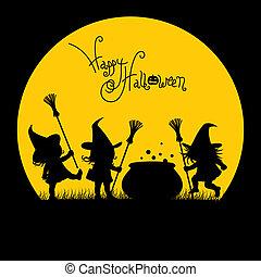 sylwetka, od, niejaki, czarownice