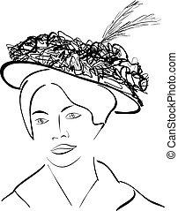 sylwetka, od, niejaki, kobieta, z, niejaki, kapelusz