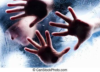 sylwetka, od, osoba, za, mokry, szkło., marznąć, do, śmierć
