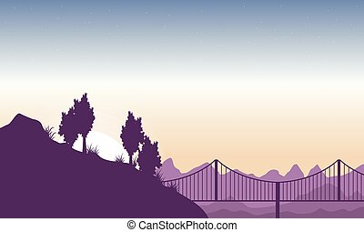 sylwetka, od, pagórek, z, most, krajobraz