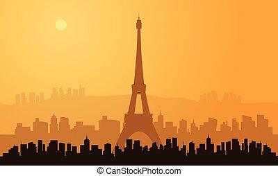 sylwetka, od, paryż, miasto