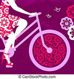 sylwetka, od, piękny, dziewczyna, na, rower