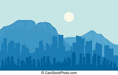 sylwetka, od, wielkie miasto, i, księżyc