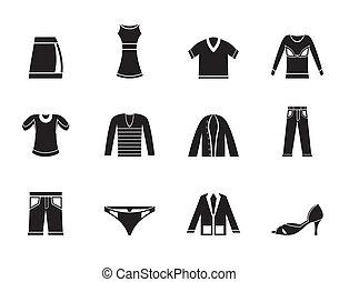 sylwetka, odzież, ikony