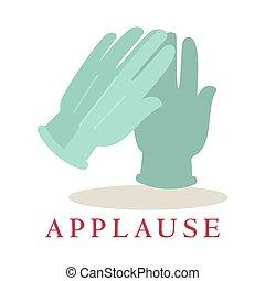 sylwetka, oklaski, bravo, odizolowany, tło., rękawiczki, biały, logo., ikona