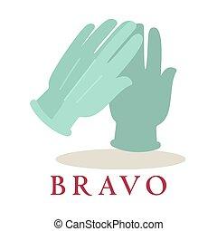 sylwetka, oklaski, bravo, odizolowany, tło., rękawiczki, logo, biały, ikona
