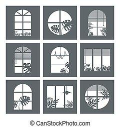 sylwetka, okna, dom, izba, zbiór, kloce, okno, rośliny, różny, sylwetka, wektor, tropikalny, curtains., night., okna, miasto, projekty, isolated., otwór, ilustracja