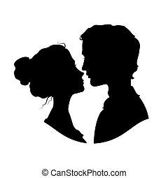 sylwetka, para, kochający