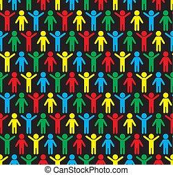 sylwetka, pattern., seamless, ludzki