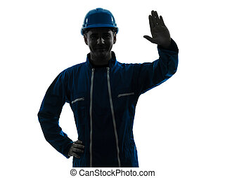 sylwetka, pracownik, zbudowanie, pozdrawianie, portret, człowiek