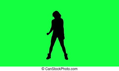 sylwetka, przeciw, dancer's, zielony