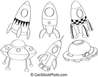 sylwetka, różny, spaceships
