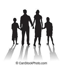 sylwetka, rodzina, cień
