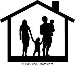 sylwetka, rodzina, ilustracja, wektor, dom, dzieci
