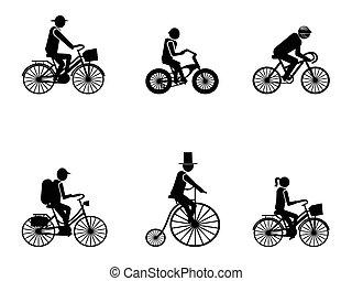 sylwetka, rower, jeźdźcy