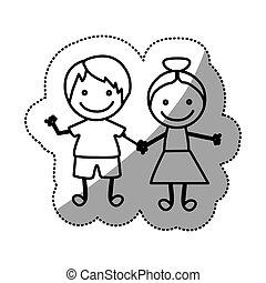 sylwetka, rzeźnik, dzieci, pociągnięty, ręka, para