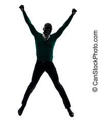 sylwetka, skokowy, czarnoskóry, afrykański człowiek, szczęśliwy