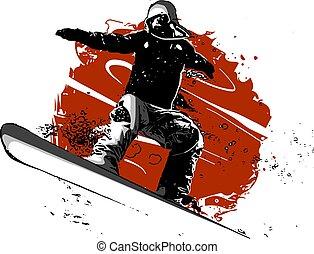 sylwetka, snowboarder, isolated., ilustracja, wektor, skokowy