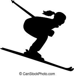 sylwetka, spadek, samica, narciarz