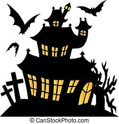 sylwetka, spooky, dom, 01
